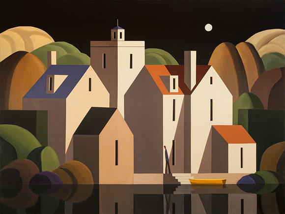 "Andy Wooldridge Painting: Night Visit To Kingsport:  40"" x 53""  oil on panel"